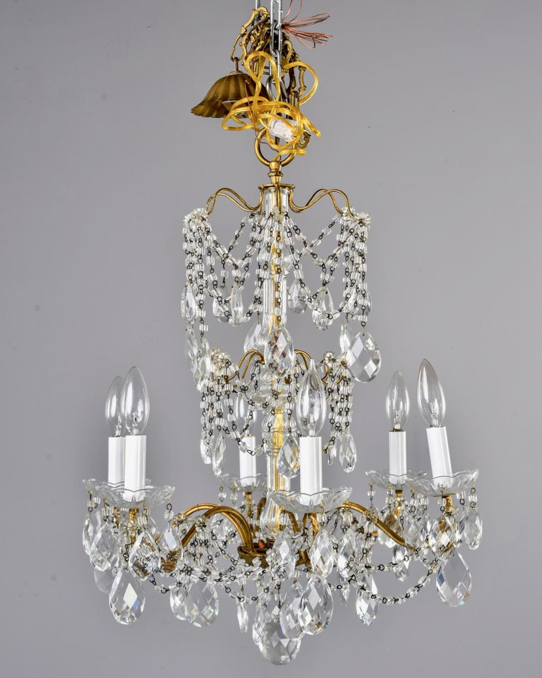 Italian Six-Light Crystal Chandelier with Large Drops In Good Condition For Sale In Troy, MI