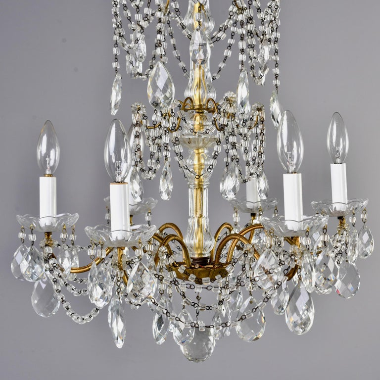 19th Century Italian Six-Light Crystal Chandelier with Large Drops For Sale