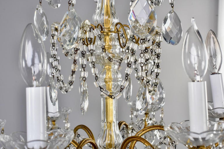 Italian Six-Light Crystal Chandelier with Large Drops For Sale 1