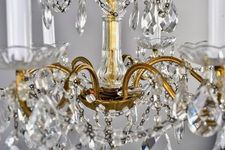 Italian Six-Light Crystal Chandelier with Large Drops For Sale 2