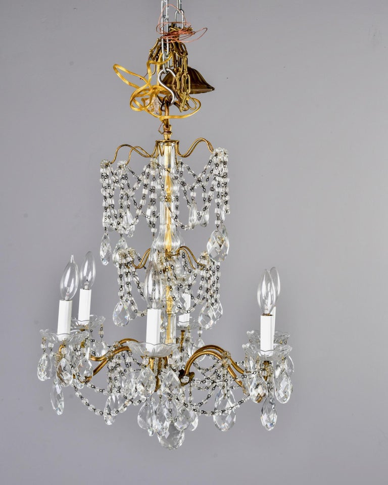 Italian Six-Light Crystal Chandelier with Large Drops For Sale 3