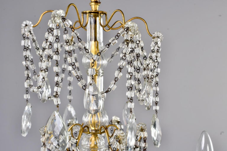 Italian Six-Light Crystal Chandelier with Large Drops For Sale 5