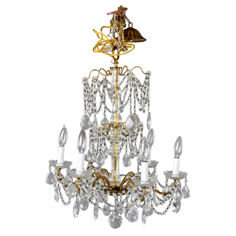 Italian Six-Light Crystal Chandelier with Large Drops For Sale
