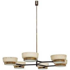 Italian Six-Lights, Brass and Metal, Ceiling Lamp Mod.1117/6 by Stilnovo, 1958