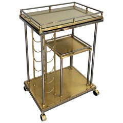 Italian Slender Brass Bar Cart with Removable Tray and Wine Rack
