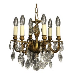 Italian Small Bronze and Crystal 6-Light Chandelier