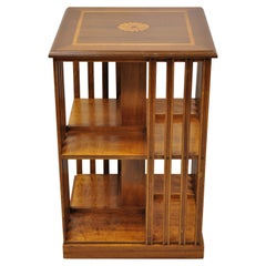 Italian Small Low Revolving Base Danner Style Bookcase Pinwheel Inlay Side Table
