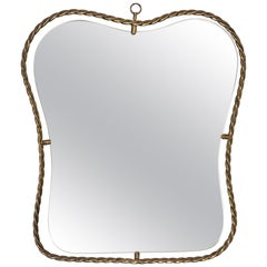 Italian, Small Organic Wall Mirror, Brass, Mirror Glass, Italy, 1950s