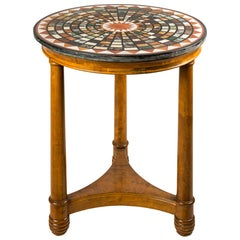 Italian Small Round Table with Marble Top, Italy, 19th Century, Empire Charles X