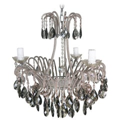 Italian Smoked Crystal Waterfall Chandelier