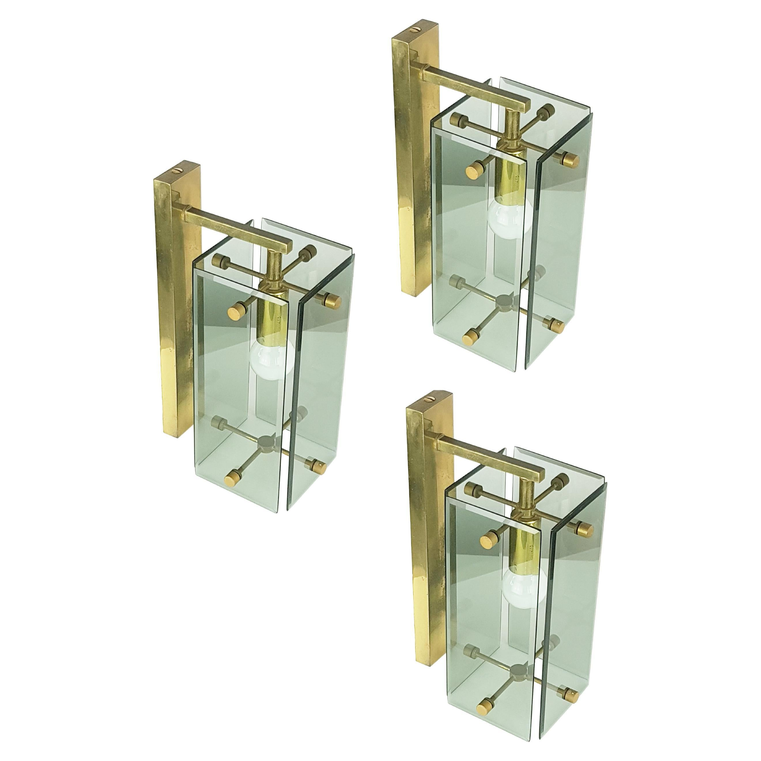 Italian Smoked Glass and Brass Wall Sconces from Cristal Art, set of 3