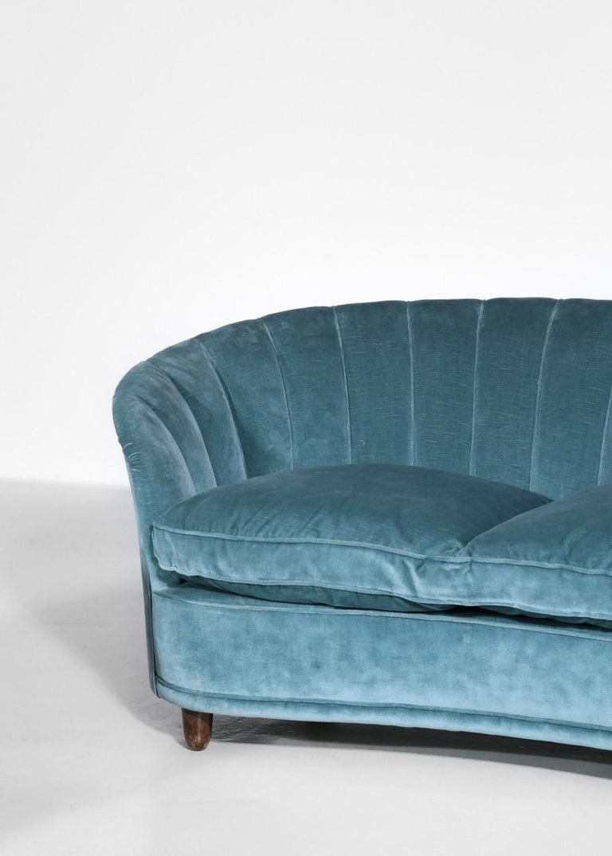 Italian Sofa by Gio Ponti Design 1960s Velvet Vintage Designer 2 Seat For Sale 5
