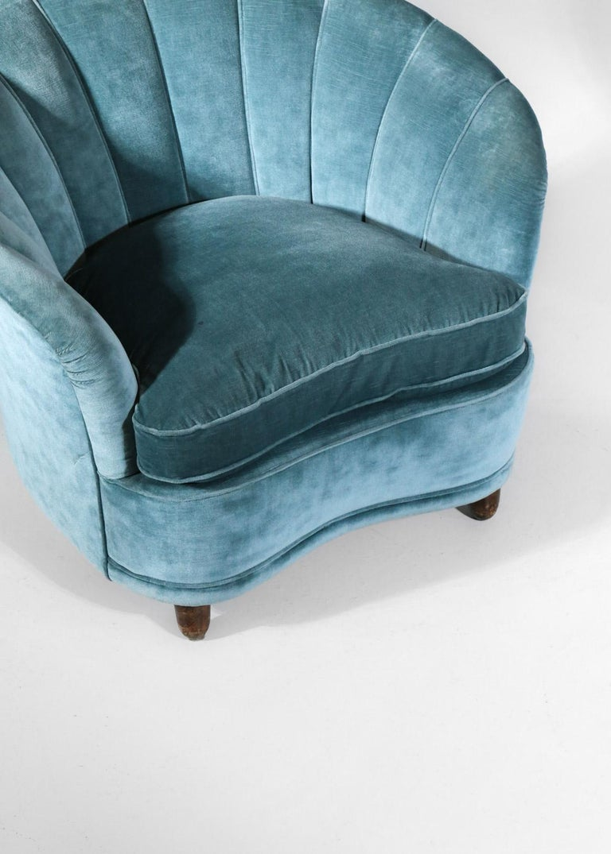 Italian Sofa by Gio Ponti Design 1960s Velvet Vintage Designer 2 Seat For Sale 7