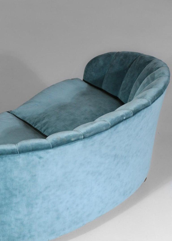 Italian Sofa by Gio Ponti Design 1960s Velvet Vintage Designer 2 Seat For Sale 10