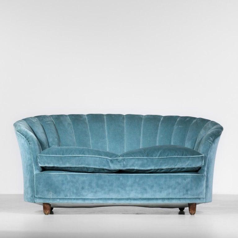 Pair of Italian armchair by Gio Ponti. Original velvet fabric (some signs of use, see photos).