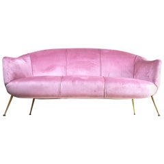 Italian Sofa, Early 1960s, in Pink Velvet and Brass Feet