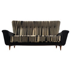 Italian Sofa in Striped Upholstery