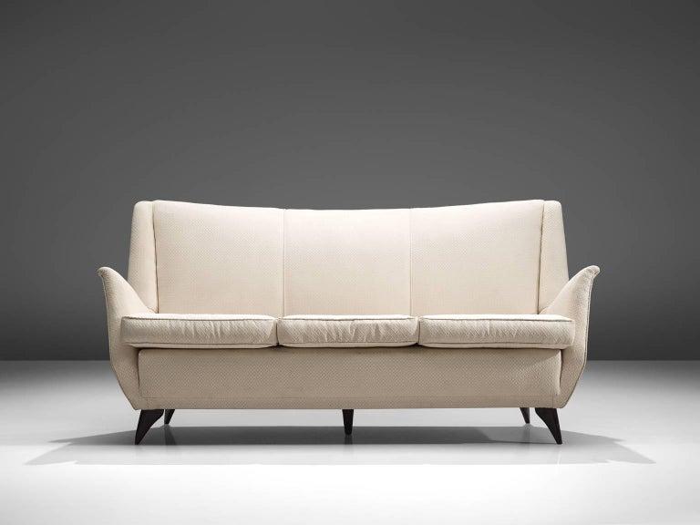 Mid-Century Modern Italian Sofa in White Fabric, 1950s For Sale