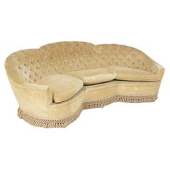 Italian Sofa Semi-Curved Quilted Yellow Fabric with Fringe