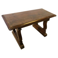 Italian Sofa Table from 1900 in Solid Fir, Very Sturdy, Honey Color, Rustic