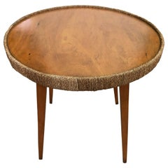 Italian Sofa Table from 1970s, in Beechwood, Round with Rope Edge Trim
