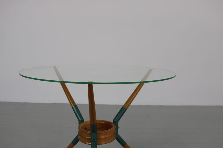 Italian Sofa Table on Three Wooden Legs, 1950s For Sale 5