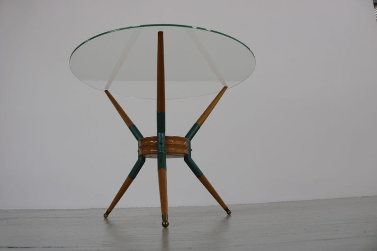 Italian Sofa Table on Three Wooden Legs, 1950s For Sale 6