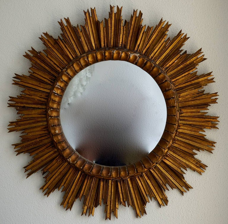 Hollywood Regency Italian Soleil Sunburst Giltwood Wall Mirror For Sale