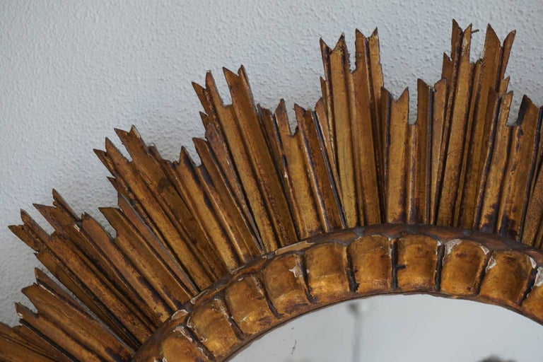 Italian Soleil Sunburst Giltwood Wall Mirror In Good Condition For Sale In Antwerp, BE
