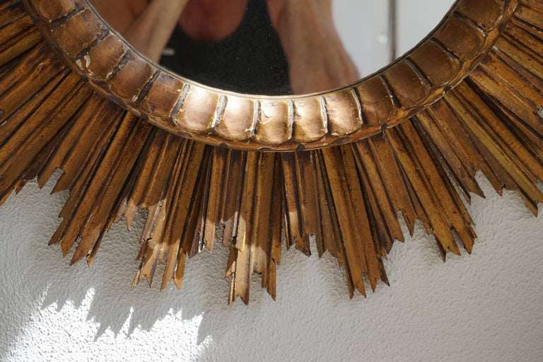 20th Century Italian Soleil Sunburst Giltwood Wall Mirror For Sale