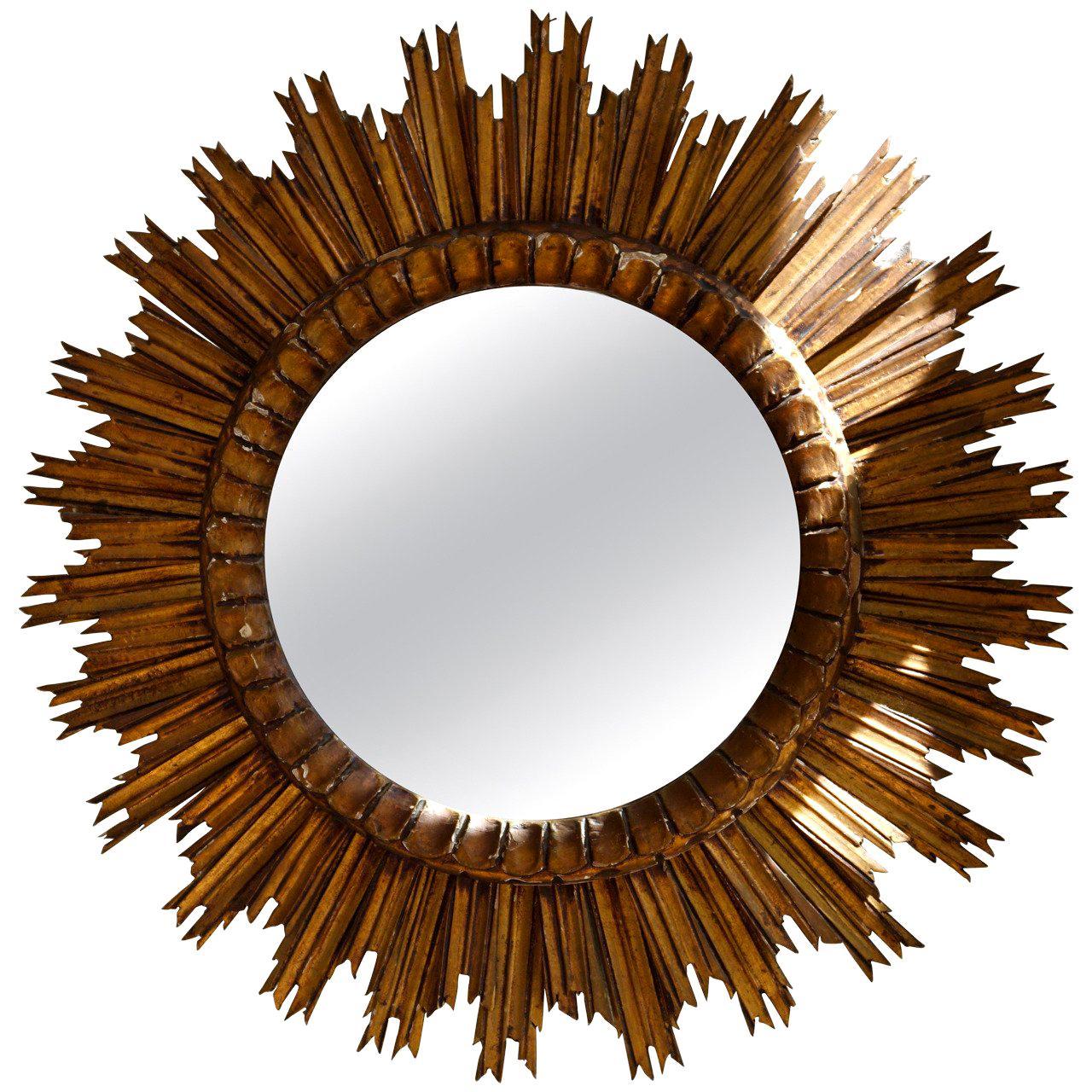 Italian Soleil Sunburst Giltwood Wall Mirror