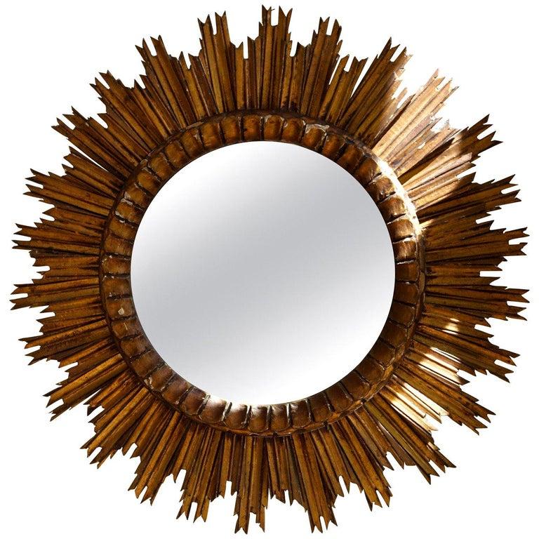 Italian Soleil Sunburst Giltwood Wall Mirror For Sale