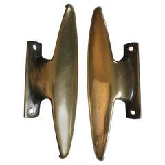 Italian Solid Brass Door Handles Midcentury Modern Design, 1950s