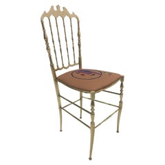 Italian Solid Brass Side or Desk Chiavari Spindle Back Chair