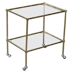 Italian Solid Brass Trolley with Wheels and Glass Tops 1970s Bar Cart