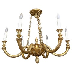 Italian Solid Bronze Six-Light Chandelier