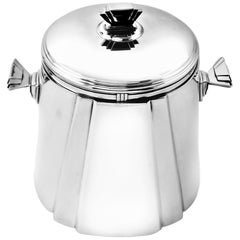 Italian Solid Silver Ice Bucket Champagne Cooler circa 1950 Art Deco Style