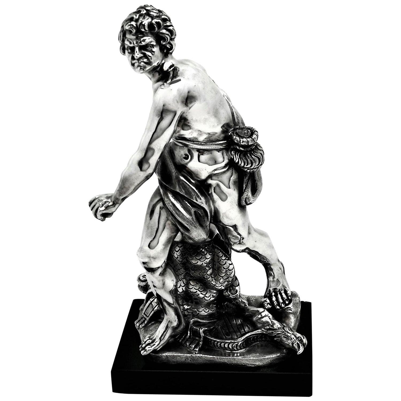 Italian Solid Silver Sculpture David & Goliath Classical Male Figure Model