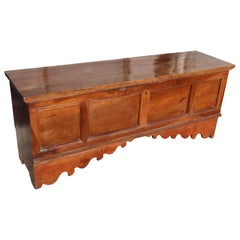 Italian Solid Walnut Wood Blanket Chest