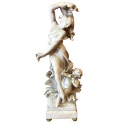 Italian Solid White Marble Statue Women and Child 19th Century