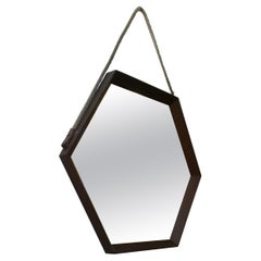 Italian Solid Wood Hexagonal Mirror, 1960s