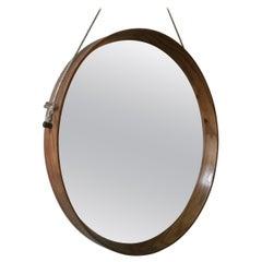 Italian Solid Wood Round Mirror, 1960s