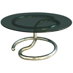 Italian Space Age Anaconda smoked Glass Coffee Table by Paul Tuttle, 1970s