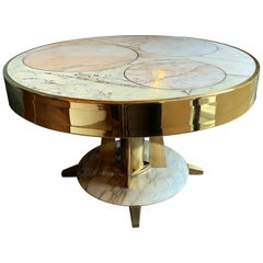 Late20th Century Italian Space Age Round Marble Table w/ Brass Pedestal & Inlays