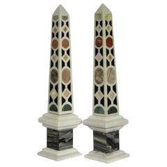 Italian Specimen Marble Obelisks