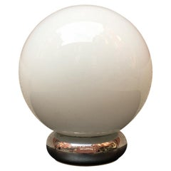 Italian Spherical Glossy, Opal Glass and Chromed Steel Table Lamp, 1970s