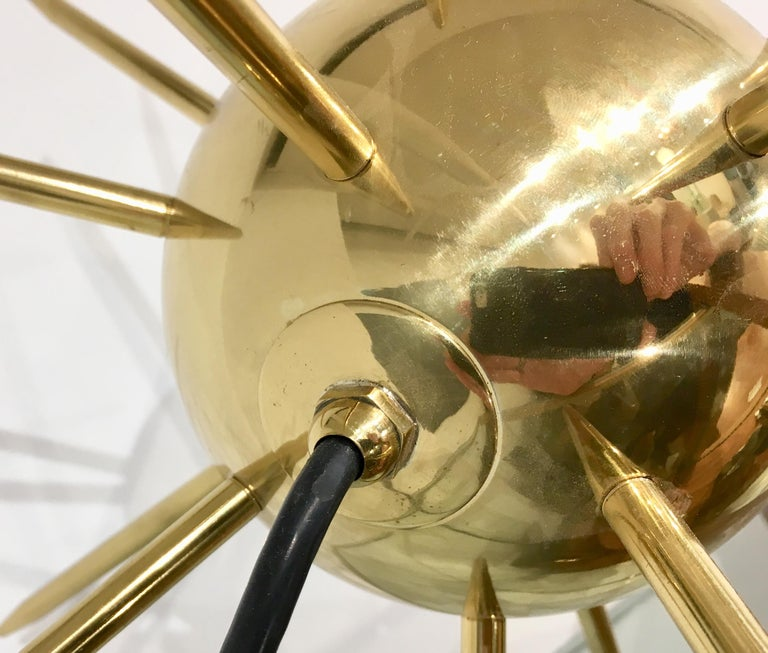 Italian Brass Sputnik Table Lamp In Excellent Condition For Sale In New York, NY