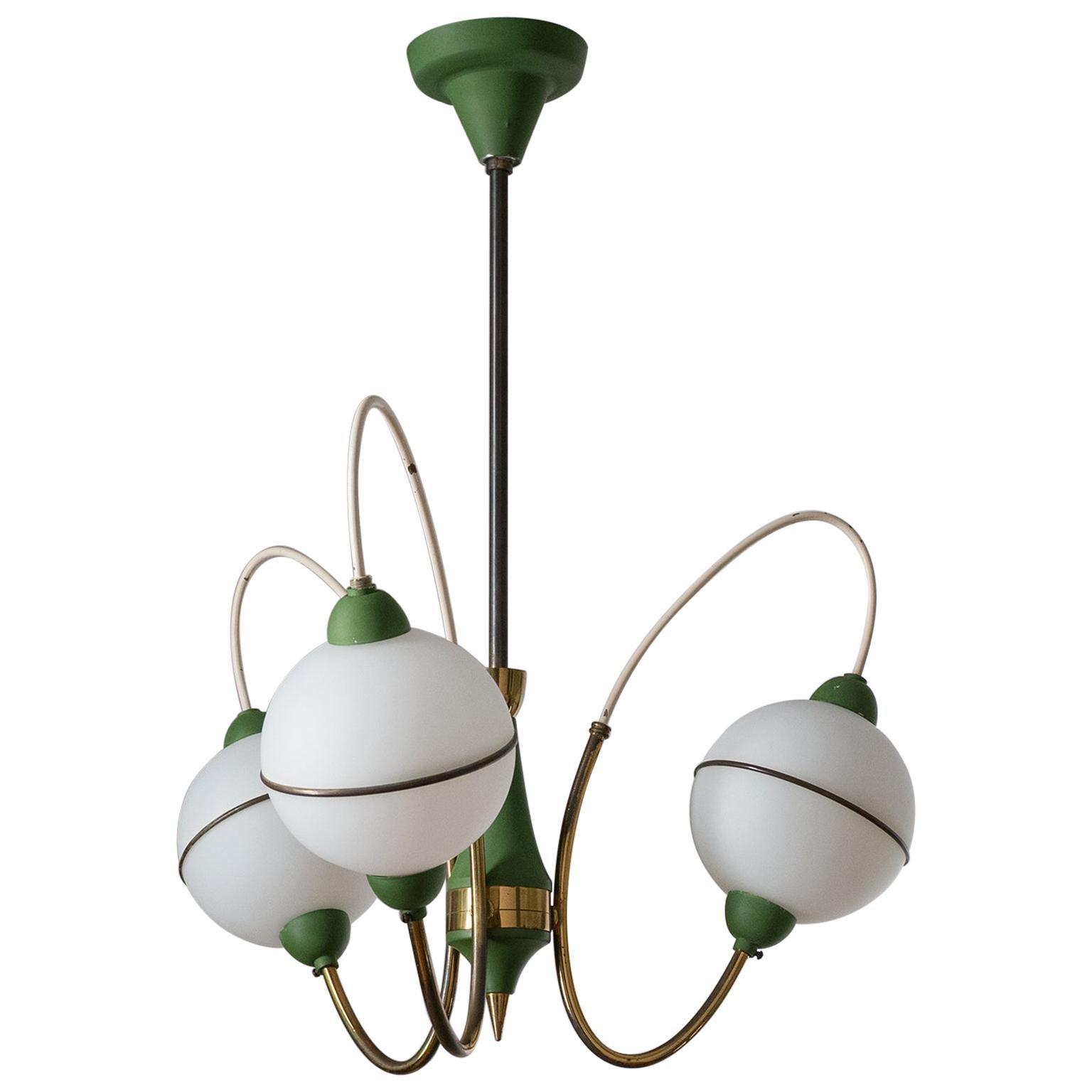 Italian Sputnik Chandelier, 1950s, Brass, Green and Satin Glass