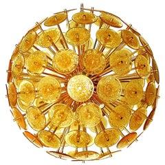 Italian Sputnik Chandelier w/ Amber Murano Glass, 1980s