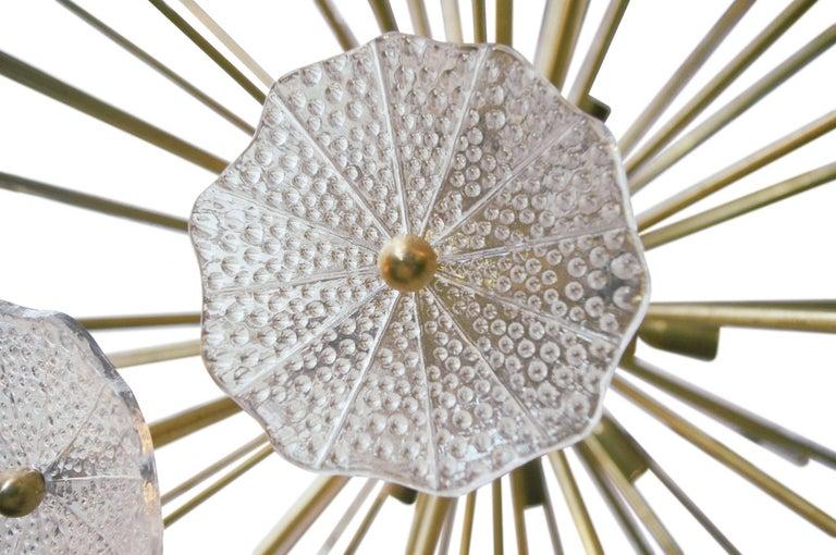 Italian Sputnik Chandelier w/ Clear Murano Glass, 1960s For Sale 1